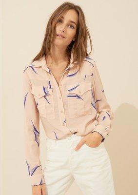 全新法國品牌 - ba&sh 裸色印花絲棉口袋長袖襯衫 Glimmer kiiTO XS