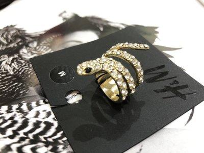 [ AD lib 代購 ] 出清 H&M 金色 蛇造型 水鑽 戒子 舞會 餐會 喜宴 M號 台北市