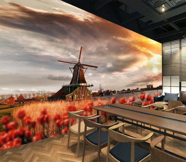 客製化壁貼 店面保障 編號F-560 荷蘭風車 壁紙 牆貼 牆紙 壁畫 星瑞 shing ruei