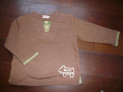 日本製 MIKI HOUSE褐色假兩件厚毛圈上衣-100cm-一元起標