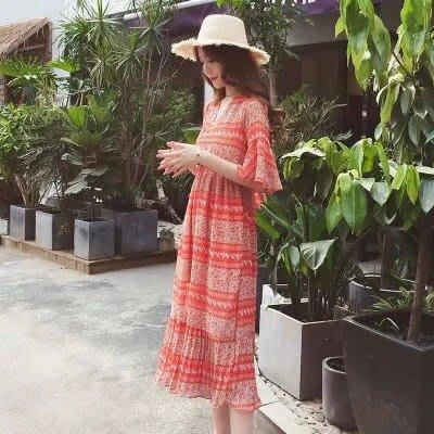 2019夏季波西米亞洋裝連衣裙女碎花喇叭袖雪紡長裙海邊度假沙灘裙