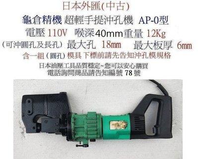 日本外匯(中古)aa-角鐵沖孔機---槽鋼沖孔機---鐵板沖孔機--打孔機 -鑽孔機~油壓工具~編號78號
