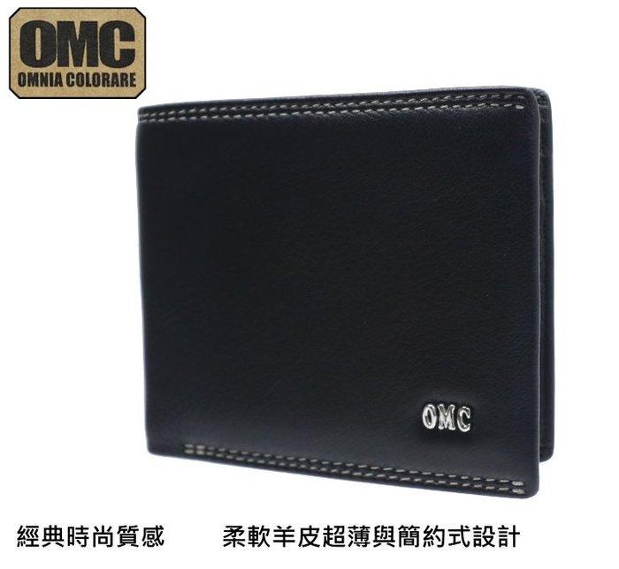【OMC】韓國專櫃 柔軟羊皮 短夾 (黑 OMC 24801 )