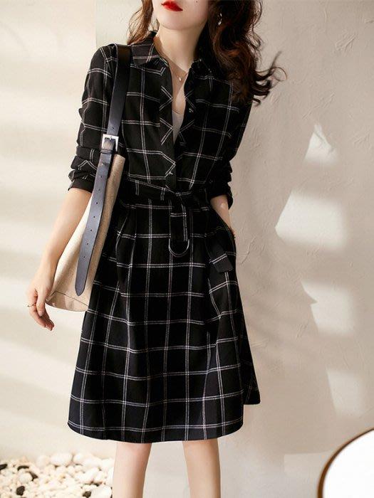 YOHO長袖洋裝 (HH107648) 復古寬鬆格子襯衫式連身裙 S-2XL