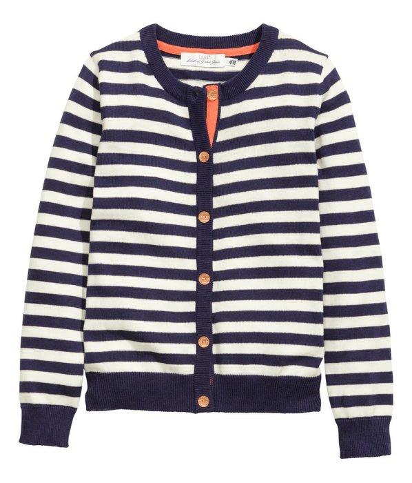 *小豆仔的屋Dou Dou House*歐洲瑞典H&M童裝/優雅深藍條紋針織衫外套(現貨+預購)