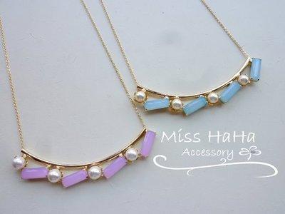 *Miss Ha Ha*C355韓.微笑弧形彩色方塊珍珠短項鍊《二色》.現貨150510 桃園市
