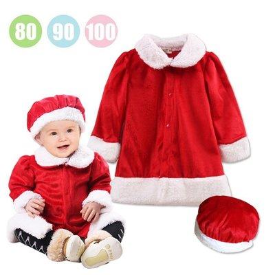 【小糖雜貨舖】秋冬 天鵝絨 長袖連衣裙+帽 聖誕造型服/聖誕套裝/聖誕派對/聖誕節/x mas/寶寶攝影服/套裝/童裝