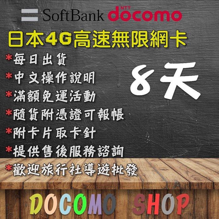 日規卡 8天 高速4G上網 累計12GB 日本 DOCOMO SIM卡 日本上網卡 日本網卡 日本sim卡 日本網路卡