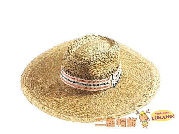 ☆二鹿帽飾☆ 型男 燈心草 牛津條紋織帶超透氣大草帽-2色 登山專用草帽