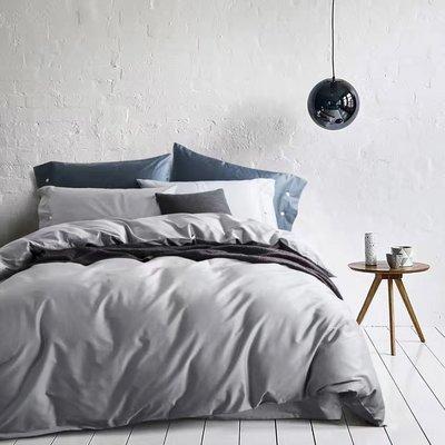#S.S 可訂製裸睡埃及棉緞面 馬卡龍 淺灰色 素色 絲綢感 純棉雙人床包 床罩 簡約 無印良品 ikea 非天絲寬庭 hola 非兩用被