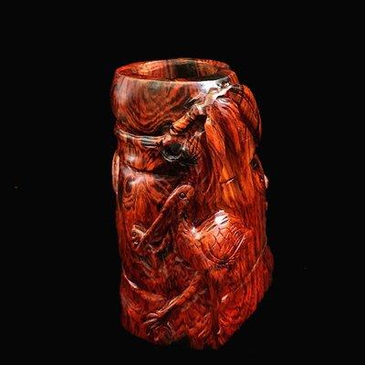 【小小莊子】寮國/老撾大紅酸枝(交趾黃檀)原木雕刻仙鶴筆筒/筆海-孤品