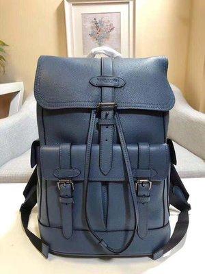 【全新正貨私家珍藏】COACH F23202 藍色牛皮男士雙肩包