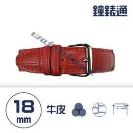【鐘錶通】C1.08KW《繽紛系列》鱷魚壓紋-18mm 火紅┝手錶錶帶/高質感/牛皮錶帶┥