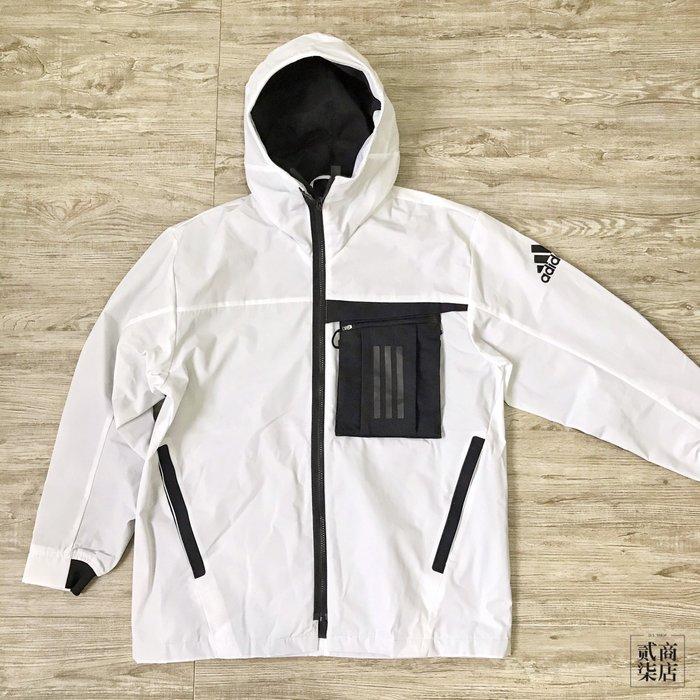 (貳柒商店) adidas O1 WB Travel Jacket 男款 白色 防風外套 工裝 刷毛 FM9394