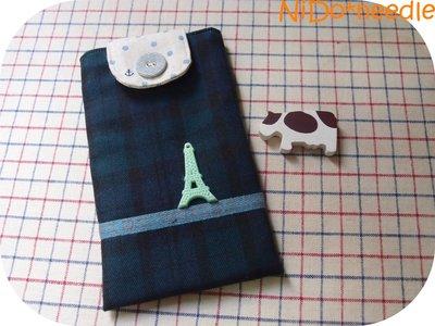 +NiDo*needle+手作加蓋暗釦學院日雜風馬卡龍巴黎鐵塔手機袋/手機套