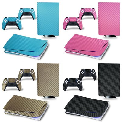 PS5 Disk光驅版游戲機全身貼紙 碳纖維貼紙 7種顏色PS5彩膜手柄貼