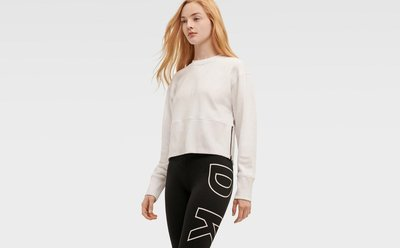 DKNY CROPPED CREWNECK PULLOVER WITH SIDE ZIPPER DETAILING