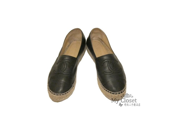 My Closet 二手名牌 CHANEL 黑色小羊皮 厚底鞋 鉛筆鞋