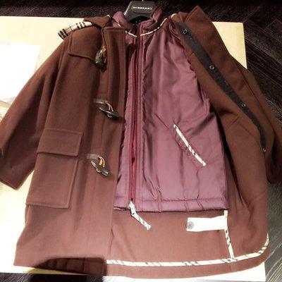 Burberry  兩件式風衣外套 真品 兒童 精品 名牌 牛角 大衣 外套 誠可議