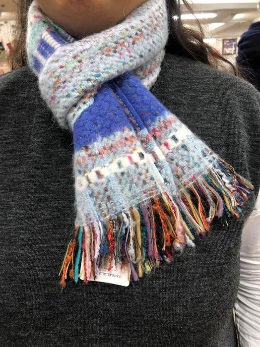 法國製 舒適親膚 長條狀圍巾