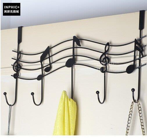 INPHIC-歐式復古鐵藝門後鋼琴掛鉤音符壁掛衣架 強力無痕掛衣架_S00262C