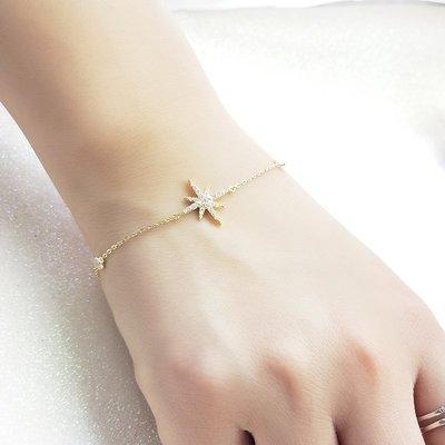 Lissom韓國代購~e 家懶人925銀星星手鍊米字六芒星正韓個性簡約金色手飾生日禮物