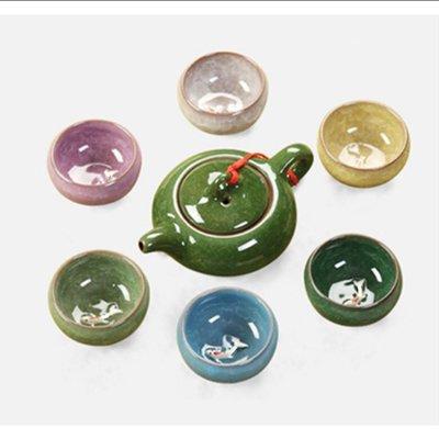 七彩陶瓷冰裂釉泡茶茶具組立體浮雕魚杯 彰化縣