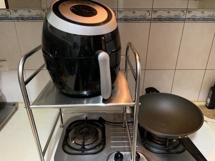 【55CM寬款】氣炸鍋置物架(2段高度可調) 不銹鋼廚房微波爐置物架 烤箱電鍋收納廚具置物架 飛利浦 科帥