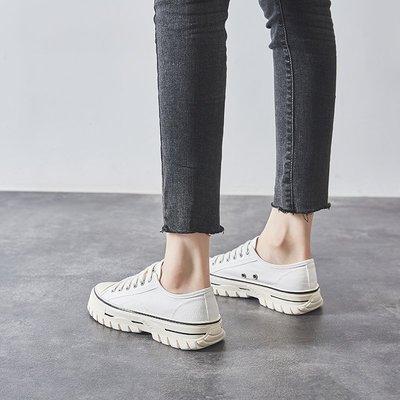 Fashion*帆布鞋 韓版復古港味韓版百搭夏款洋氣厚底小白鞋女『白色 黃色 黑色』35-39碼