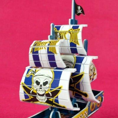 佳廷家庭 親子DIY紙模型3D立體拼圖贈品獎勵品專賣店 船舶軍艦遊艇 袋裝海盜船2藍 Calebou卡樂保