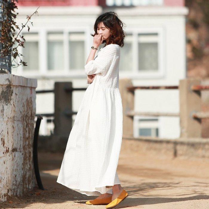 【鈷藍家】棉麻臆想 原創春夏新品絲麻格子白色圓領七分袖大擺長款裙袍連身裙寬鬆文藝質感大氣簡潔氣質袍子