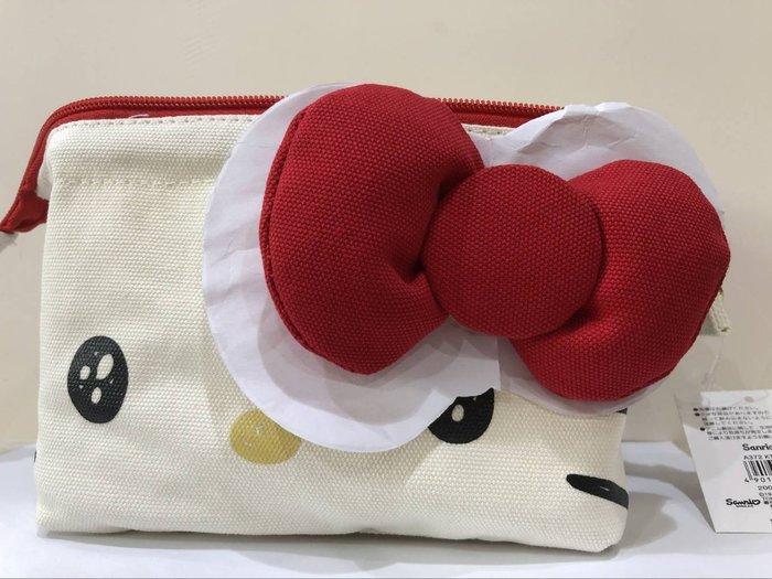 《東京家族》Kitty 牛仔 絨毛耳 蝴蝶結 帆布化妝包/收納袋/筆袋