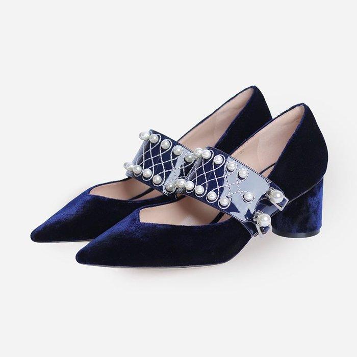 SeyeS {韓國空運} 英倫歐美時尚華麗珍珠娃娃鞋