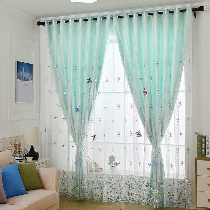 創意 居家裝飾 雙層一體遮光小窗簾成品簡約現代墨綠色小清新純色臥室客廳落地窗