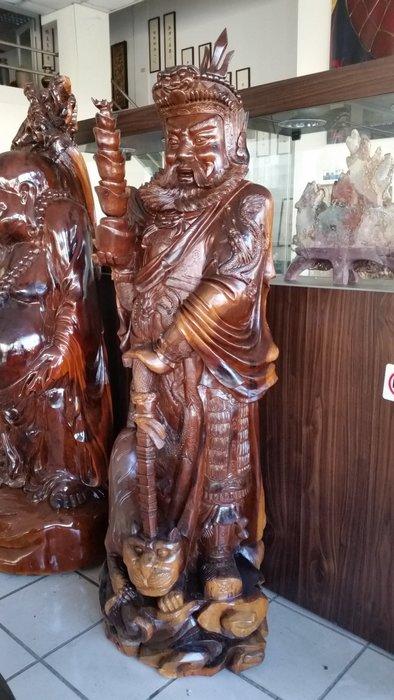 國際二手貨----早期紅豆杉木雕 高210公分 武財神 趙光明  精緻威武 矩矩有神 鎮宅招財 大型木雕