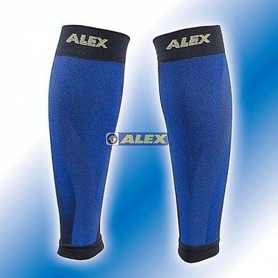 【線上體育】ALEX 壓縮小腿套/藍黑色 T-7202