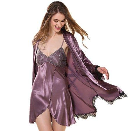 性感睡衣女春夏季長袖真絲綢睡袍吊帶睡裙兩件套誘惑家居服套裝秋