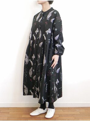 |The Dood Life|marble SUD EMB Branch バンドカラーOP / 小松鼠針葉樹刺繍 洋裝