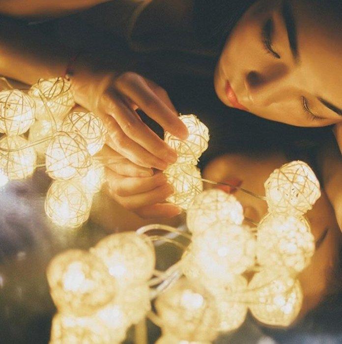 現貨~LED星星燈串泰國3cm藤球燈滿天星臥室裝飾燈少女心浪漫小彩燈閃燈
