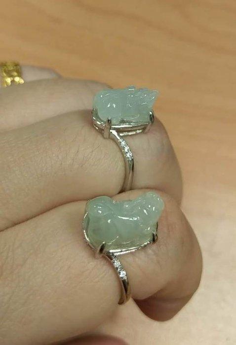 天然翡翠A貨~貔貅戒對戒(一對)~925銀戒指