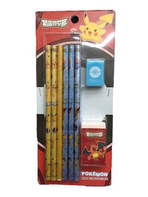 【阿LIN】4742AA 精靈寶可夢木頭鉛筆組 兒童文具 鉛筆 削鉛筆器 橡皮擦 禮物 正版授權