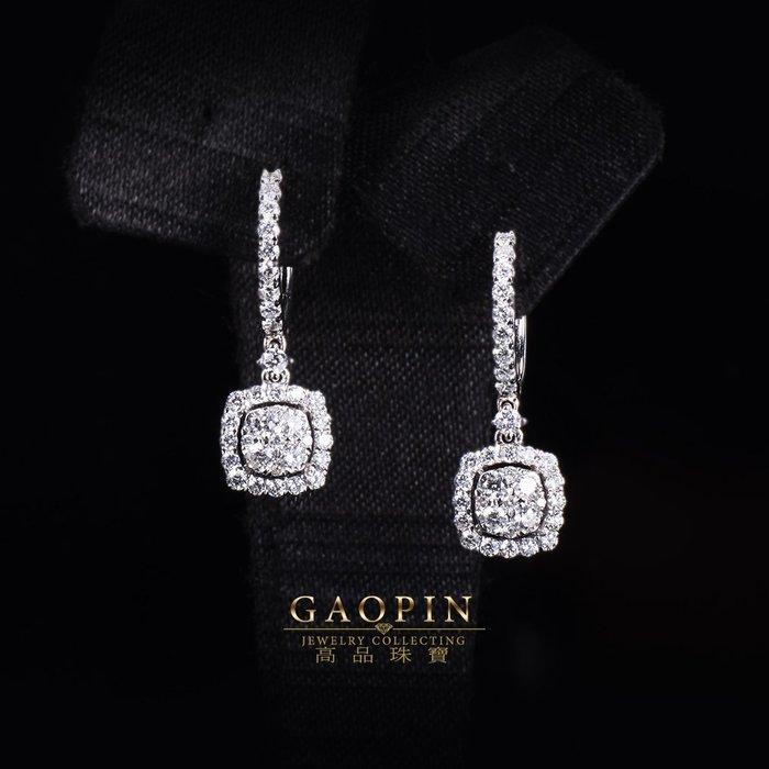 【高品珠寶】18K 設計款《圓方》鑽石耳環 真金真鑽 情人節禮物 生日禮物 (訂製款 ) #3406
