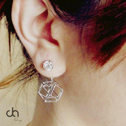 正韓鑽石骨角形前後垂掛式耳環 兩用 新娘飾品 實拍現貨 米絲小姐玩時妝
