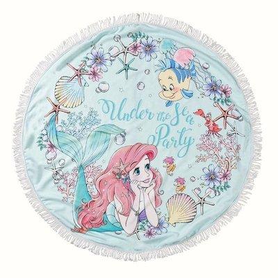 全新日本正版 迪士尼タオル ラウンド アリエル 公主系列浴巾 蓋毯