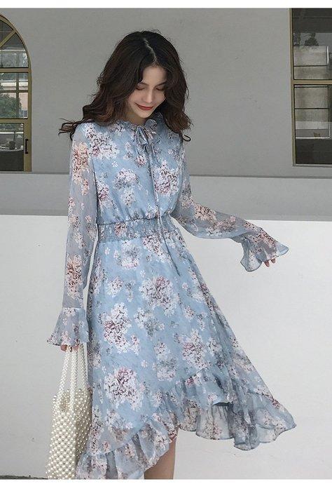 【Elfalas】韓版新款氣質顯瘦荷葉邊V領連身裙