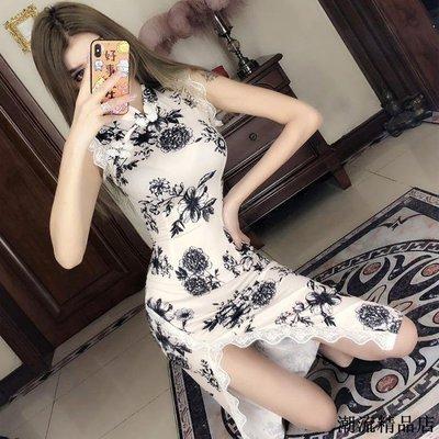 抖音網紅主播性感夜店青花瓷改良式少女長款開叉蕾絲旗袍連衣裙