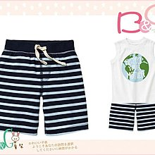 【B& G童裝】正品美國進口GAP Striped knit shorts 銀河藍條紋棉質短褲18-24mos,2,3,4yrs