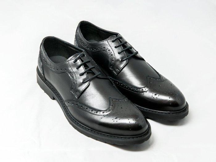 翼紋雕花德比鞋:手工上色小牛皮真皮皮鞋男鞋-黑色-免運費-[LMdH直營線上商店]E1A14-99