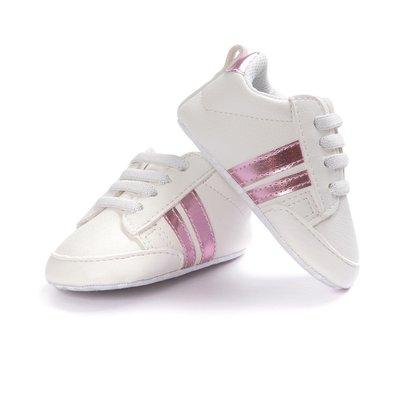 寶貝倉庫~促銷~白粉色休閒球鞋~學步鞋...