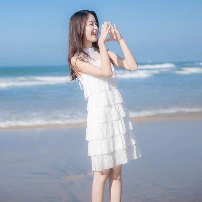 *Angel  Dance*無袖雪紡洋裝(白色)@韓國 小禮服 氣質 甜美 網紗 綁帶 顯瘦 A字裙 蛋糕裙@現貨+預購